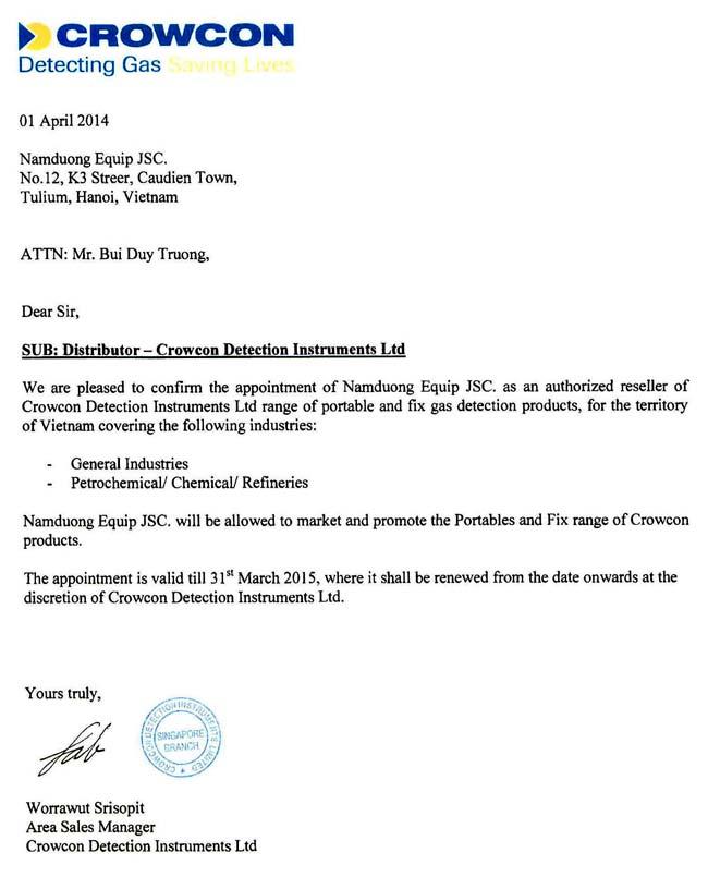 01/04/2014 Nam Dương chính thức trở thành đại diện bán hàng cho Crowcon Detection Instruments Ltd – Anh Quốc